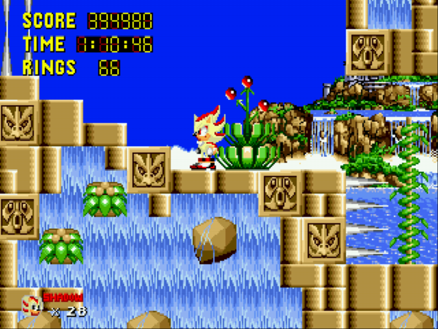 Sonic 1 Megamix (v3.0) - Level  - Super Shadow - User Screenshot